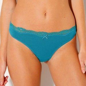 Blancheporte String kalhotky, sada 3 ks modrá+proužky+potisk srdce 40/42