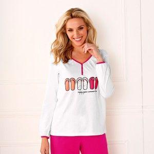 Blancheporte Pyžamové tričko s dlouhými rukávy slonová kost 50