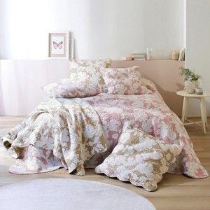 Blancheporte Přehoz na postel s potiskem, styl boutis růžová 180x240cm