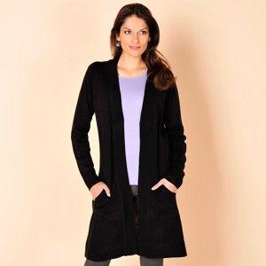 Blancheporte Dlouhý svetr bez zapínání černá 50