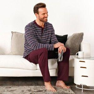 Blancheporte Pyžamo s tuniským výstřihem a proužky bordó 107/116 (XL)