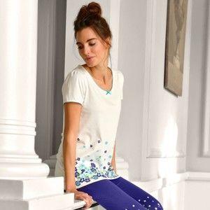 Blancheporte Pyžamové tričko s květinovým potiskem a krátkými rukávy slonová kost 38/40