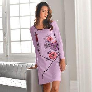 Blancheporte Noční košile s florálním patchworkem, úplet lila 56