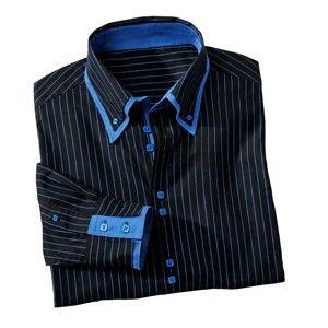 Blancheporte Košile s dvojitým límečkem a dlouhými rukávy černá proužky 47/48