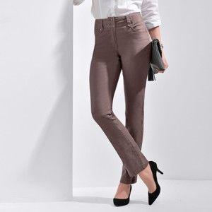 Blancheporte Rovné kalhoty s vysokým pasem, malá postava hnědošedá 38