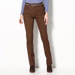 Blancheporte Rovné kalhoty s vysokým pasem, malá postava oříšková 50