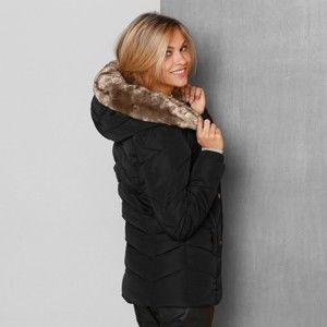 Blancheporte Bunda s kapucí a kožešinovou imitací černá 44