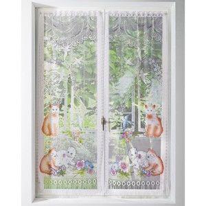 Blancheporte Rovné vitrážové záclonky, Kočičky, sada 2 ks potisk 44x160cm