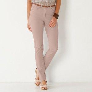 Blancheporte Rovné bistrečové kalhoty béžovorůžová 40
