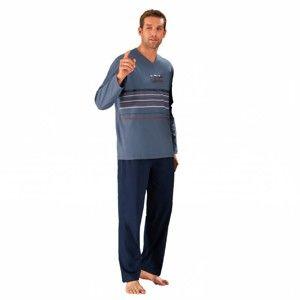 Blancheporte Pyžamo s kalhotami, jemná bavlna modrošedá/nám.modrá 127/136 (3XL)