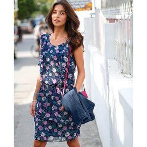 Blancheporte Volánové šaty s potiskem květin nám.modrá/růžová 36