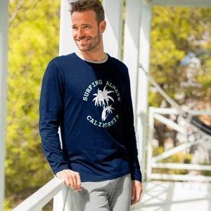 Blancheporte Pyžamové tričko s potiskem a dlouhými rukávy nám.modrá 97/106 (L)