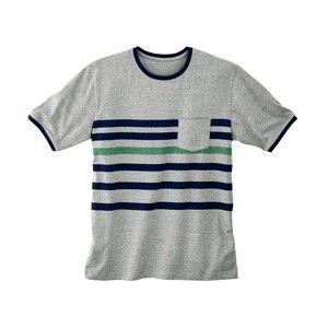 Blancheporte Pyžamové tričko s pruhy a krátkými rukávy šedý melír 107/116 (XL)