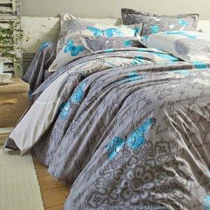 Blancheporte Povlečení Celestine, bavlna zn. Colombine hnědošedá/modrá povlak na polštář 65x65cm+lem