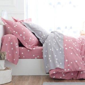 Blancheporte Povlečení Jean puntíky, bavlna pudrová růžová napínací prostěradlo 90x190cm