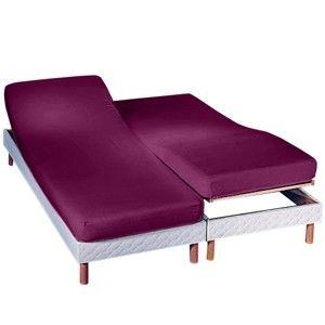Blancheporte Napínací prostěradlo na polohovací postel, flanel švestková napínací prostěradlo 160x200cm