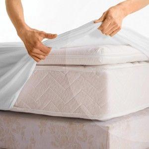 Blancheporte Potah na matraci melton, Conforlux 40 cm bílá 180x200cm potah, roh 40cm