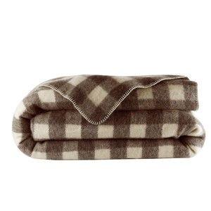 Blancheporte Vlněná deka káro kaštanová 180x220cm