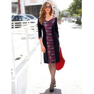 Blancheporte Šaty s potiskem, v zeštíhlujícím střihu černá/bílá/červená 52