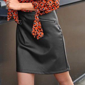Blancheporte Koženková sukně se zipovými kapsami černá 52