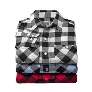 Blancheporte Flanelová košile, sada 3 ks modrá+černá+červená 47/48