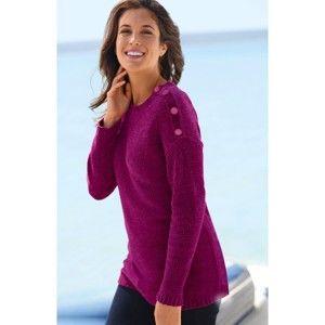 Blancheporte Pletený pulovr, žinylka purpurová 50