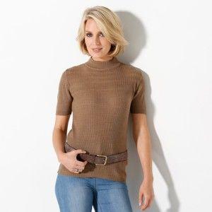 Blancheporte Žebrovaný pulovr s krátkými rukávy oříšková 46/48