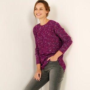 Blancheporte Melírovaný pulovr s lodičkovým výstřihem purpurový melír 46/48