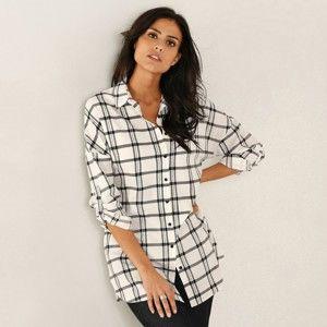 Blancheporte Košilová tunika s potiskem kostky bílá/černá 40