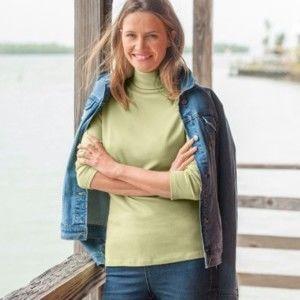 Blancheporte Jednobarevné tričko se stojáčkem a dlouhými rukávy anýzová 50
