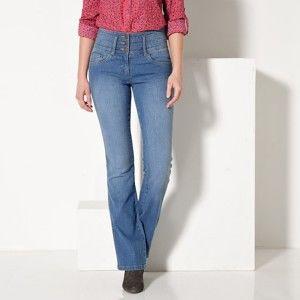 Blancheporte Tvarující džíny s efektem zeštíhlení a plochého bříška sepraná modrá 46