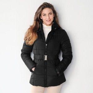 Blancheporte Krátká prošívaná bunda s páskem černá 48