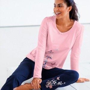 Blancheporte Pyžamové tričko s dlouhými rukávy a potiskem na straně růžová 46/48