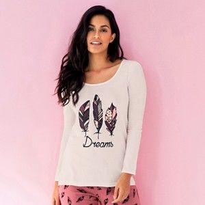 Blancheporte Pyžamové tričko s potiskem peříček Slonová kost 50