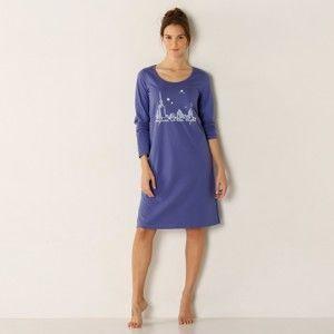 """Blancheporte Noční košile s dlouhými rukávy s potiskem """"město"""" modrá 46/48"""