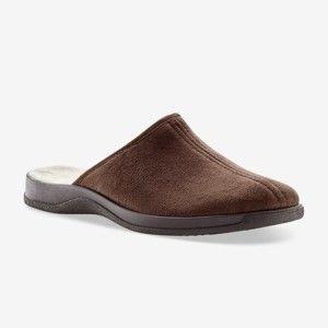 Blancheporte Široké jednobarevné pantofle, vlna kaštanová 43