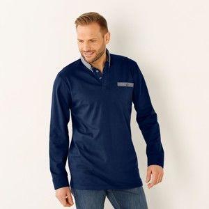 Blancheporte Polo triko s dlouhými rukávy námořnická modrá 147/156 (5XL)