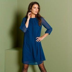 Blancheporte Šaty s průsvitnými rukávy temně modrá 38