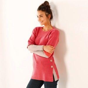 Blancheporte Pončo pulovr na knoflíky růžová 50