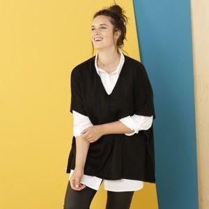 """Blancheporte Pončo pulovr na knoflíky, s výstřihem do """"V"""", černý černá 56"""