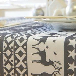 Blancheporte Ubrus s potiskem sobů a vloček šedá/bílá 150x250cm