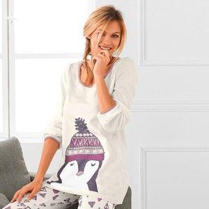 Blancheporte Pyžamové tričko s dlouhými rukávy a potiskem tučňáka tučňák slonová kost 46/48