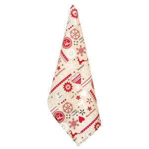Blancheporte Vánoční kuchyňská utěrka béžová/červená 50x70cm