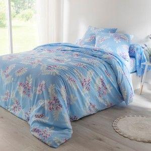 Blancheporte Povlečení Clara, bavlna modrá klasické prostěradlo 180x290cm