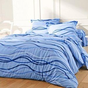 Blancheporte Povlečení Vlnky, bavlna zn. Colombine modrá povlak na přikrývku 140x200cm