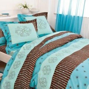 Blancheporte Povlečení Estrella, bavlna zn. Colombine tyrkysová/čokoládová povlak na přikrývku 140x200cm
