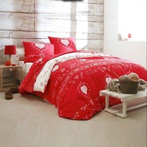 Blancheporte Povlečení Srdce, bavlna červená napínací prostěradlo 90x190cm