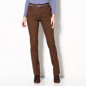 Blancheporte Rovné kalhoty s vysokým pasem, malá postava oříšková 44