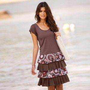 Blancheporte Volánové šaty s krátkými rukávy hnědošedá/korálová 34/36