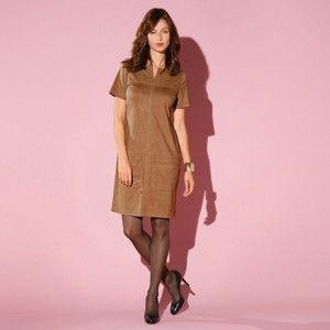 Blancheporte Rovné semišové šaty v členitém střihu karamelová 40